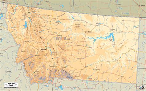 Physical Map of Montana   Ezilon Maps