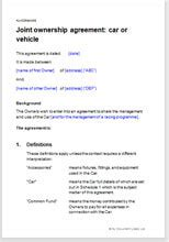 Joint Ownership Agreement For A Car Fractional Ownership Agreement Template