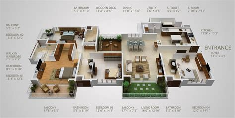 4 bedroom luxury apartment floor plans 4 bedroom apartment house plans