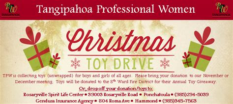 Christmas Toy Giveaways - 2015 christmas toy drive tangipahoa professional women s organization