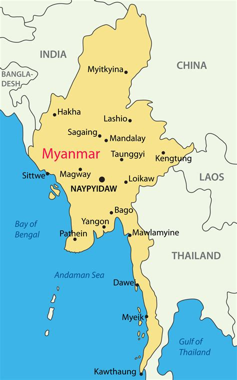 political map of myanmar myanmar map physical outline political blank