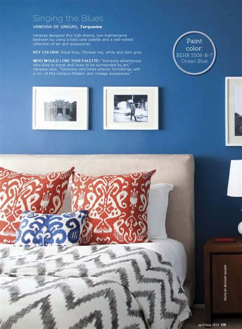 chinese red  blue bedroom interiors  color