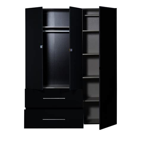 Black 3 Door Wardrobe by Ii Black Gloss 3 Door Wardrobe With Mirror