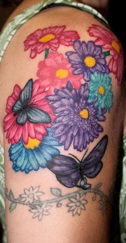color flower tattoos color flower and butterfly by lara higgs tattoonow