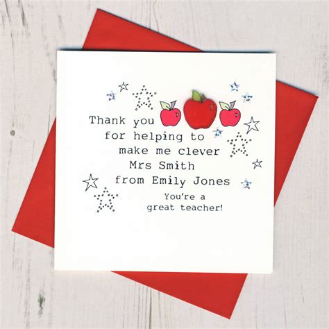 Handmade Thank You Cards For Teachers - personalised handmade thank you card by eggbert