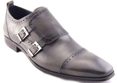 carrucci s monk gray leather dress shoes