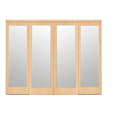 Impact Plus Closet Doors Impact Plus 120 In X 84 In Mir Mel Stain Grade Maple Mirror Solid Mdf Interior Closet