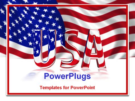 powerpoint template 3d glossy usa text on an american