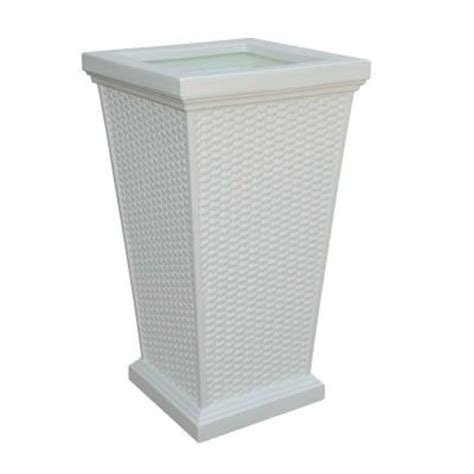 mayne wellington 16 in white plastic planter 5863 w the