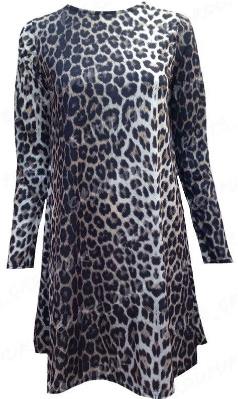 leopard swing dress womens tartan ladies leopard tiger print long sleeve swing
