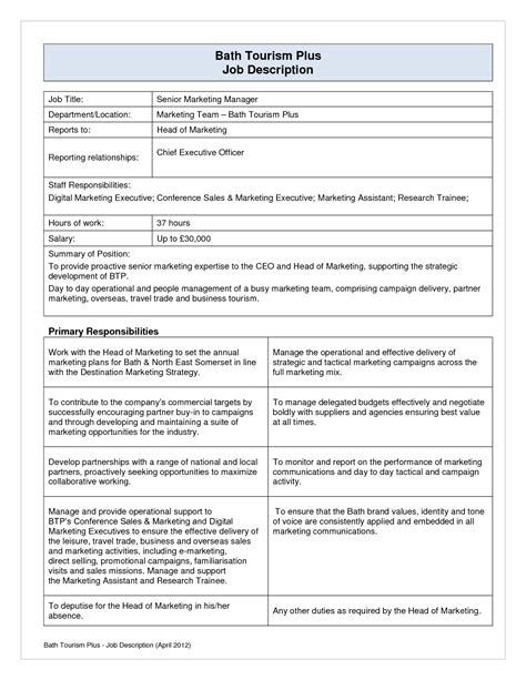 job description layout exles best photos of template of job description job