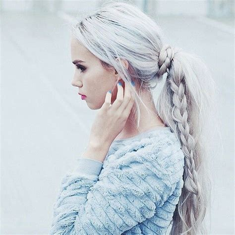 Alba Luxy Black icy grey hair braided quot grisalhos quot gray hair