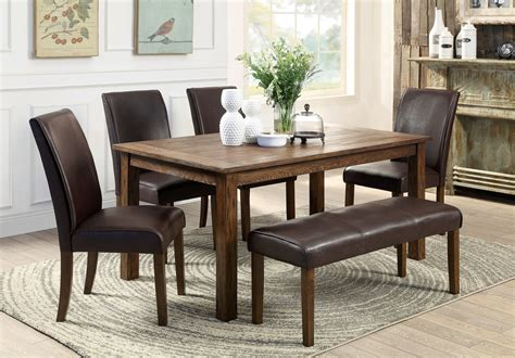 wood dining table with bench walnut wood dining table with rectangle brown leather seat