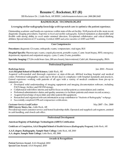 resume exle college of radiologic technologist resume templates radiologic technologist
