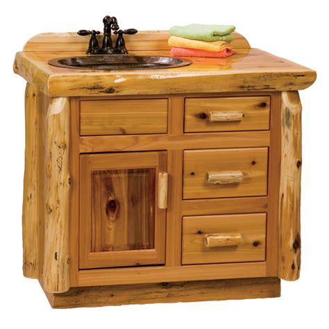 Fireside Lodge Cedar Log Open Vanity With Drawers Log Bathroom Vanity