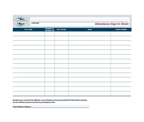 sign  sheet templates  sample  format