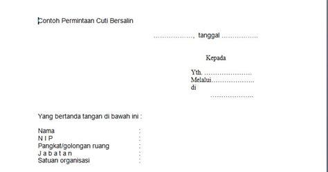 contoh surat permintaan cuti bersalin format