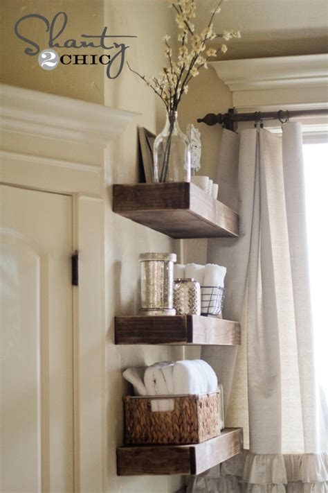 diy bathroom shelving ideas easy diy floating shelves shanty 2 chic