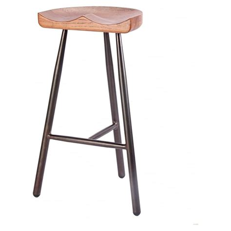 metal bar stool with wooden seat buy vintage brown 3 leg metal bar stool with solid dark