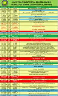 Calendar 2018 Saudi Arabia Academic Calendar Of Events 2017 2018 Pakistan