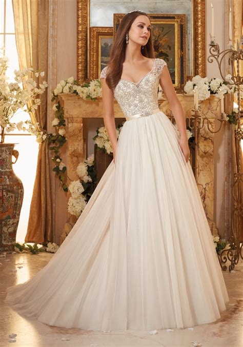 Gown Wedding Dress by Embroidery On Soft Tulle Gown Wedding Dress Style