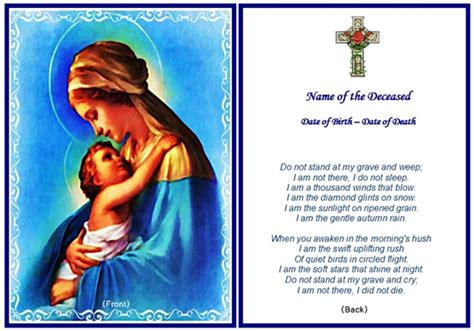 memorial prayer cards template 7 best images of printable memorial card templates free