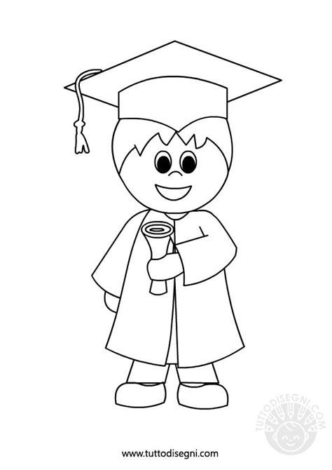 boy graduation coloring page bambino con diploma fine anno scolastico tuttodisegni com