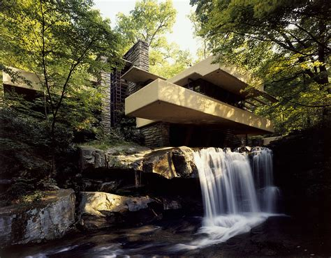 Fallingwater Pictures Low Angle Near Waterfall Frank Lloyd Wright House