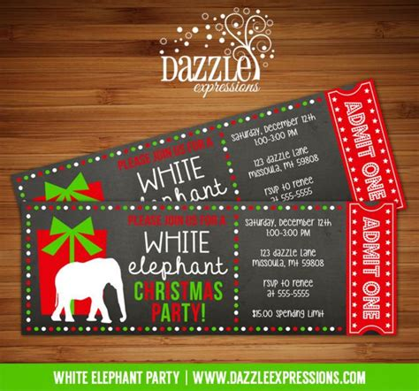 printable christmas tickets printable white elephant party chalkboard ticket