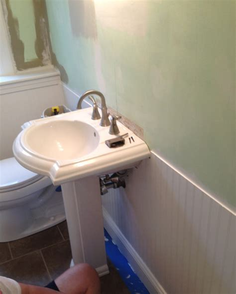 Kitchen Cabinets Sales by Wainscoting Running Into Pedestal Sink Help