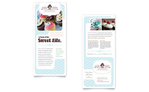 custom design rack card templates bakery cupcake shop rack card template design
