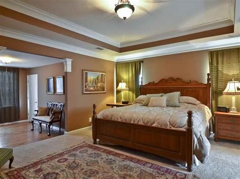 trey ceiling paint ideas with brown wall master bedroom