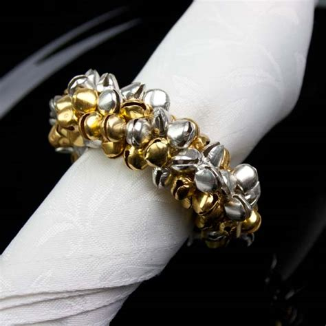 gold silver jingle bell napkin ring decorations for