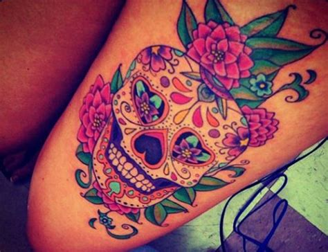 girly thigh tattoos bright girly sugar skull