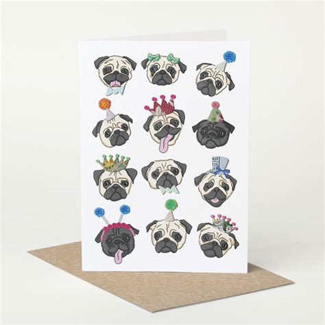 pug birthday card pug birthday card by pugyeah notonthehighstreet