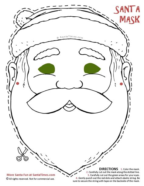 printable christmas masks free coloring pages of mask of santa claus
