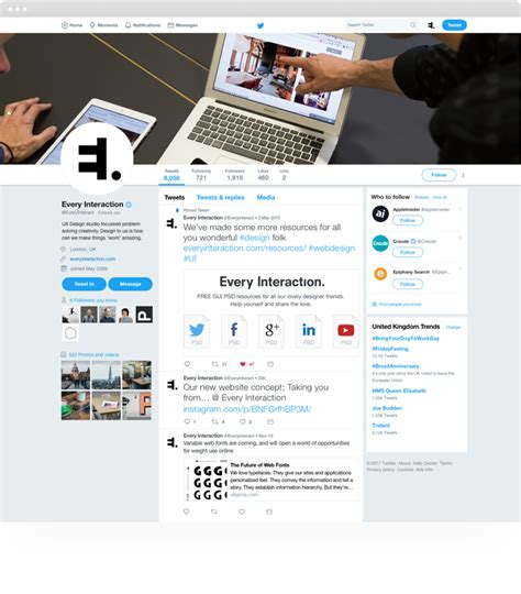 twitter computer layout twitter profile gui psd sketch template every interaction