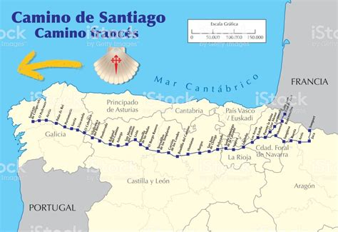 camino de santiago mappa map of camino de santiago route vector stock vector