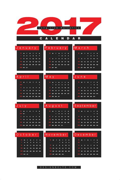 free 2017 wall calendar printable design template in ai