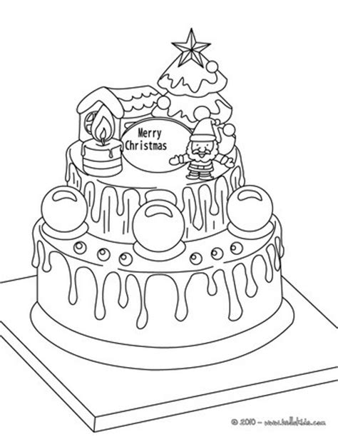 christmas cake coloring pages traditional xmas cake coloring pages hellokids com