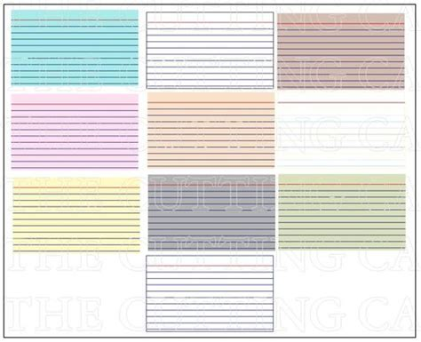 Index Cards Template Word 2013 by The Cutting Cafe Colored Printable Sts