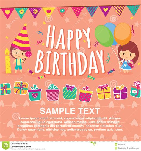 birthday layout vector birthday kids layout design stock vector illustration of