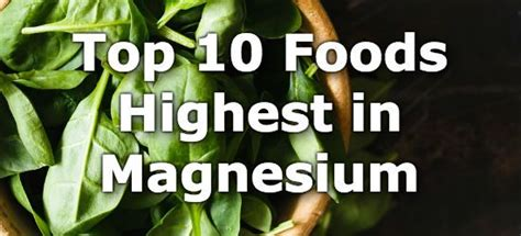 vegetables high in magnesium top 10 high magnesium foods you can t miss