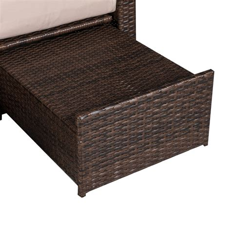 rattan chaise lounge outsunny 3 piece outdoor rattan wicker chaise lounge