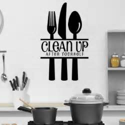 Wall Stickers For The Kitchen Clean Up After Yourself With Cutlery Wall Stickers Kitchen