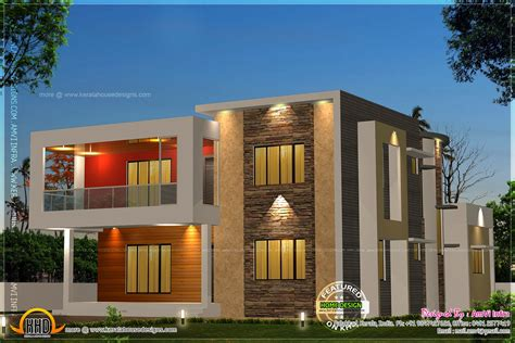 Floor Plan Elevation 5 bedroom contemporary house with plan kerala home