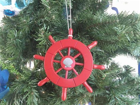 buy red decorative ship wheel with seashell christmas tree