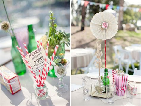 Handmade Table Centerpieces - a handmade vintage circus wedding ricky part 2