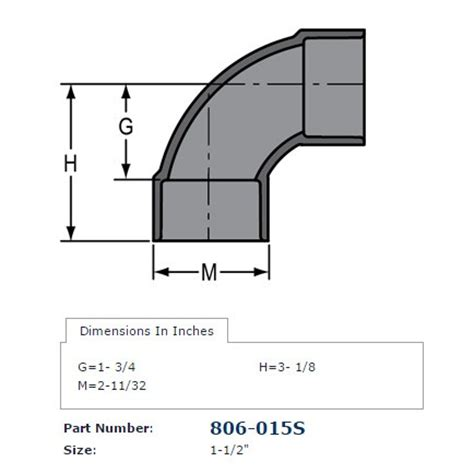 "1 1/2"" schedule 80 pvc sweep 90 elbow 806 015s"