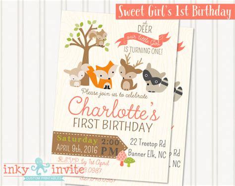 free printable birthday invitations woodland little girl s woodland 1st birthday party invitation